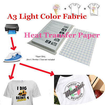 New T-Shirt Laser/Inkjet Iron-On Heat Transfer Paper, For Light Color Fabric A3