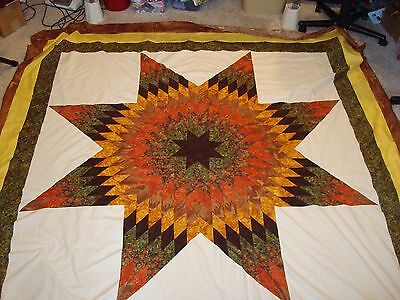AMAZING AUTUMN STAR Quilt Top - QUEEN SIZE Not quilted
