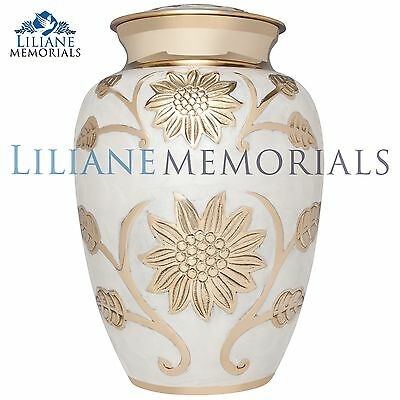 White, Golden Flowers - Brass Funeral Cremation Urn,  Adult, 200 cubic inches