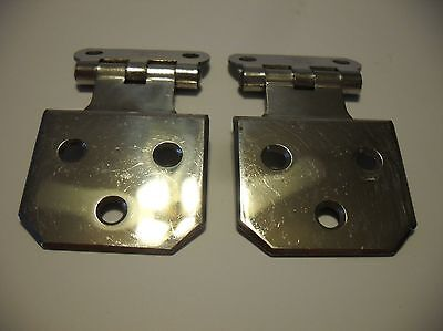 "Vtg NOS CHROME Cabinet Door Hinges Beveled Corner 1/4"" Offset Stanley SW Antique"