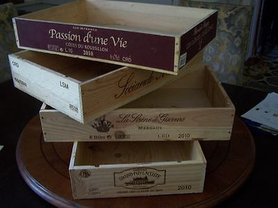 3 X French Flat Wooden Wine Crate Boxes - Retail Shop Market Museum Display Unit
