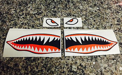 "6"" Flying Tigers Shark Teeth A-10 Warthog Decals Stickers Warhawk Fighter Jet"
