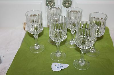 Set of 6 CRISTAL D' ARQUES Diamond Cut Crystal Paneled  Wine Goblets