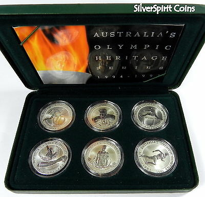 1996 $10 OLYMPIC HERITAGE Set of 6 x SILVER Coins