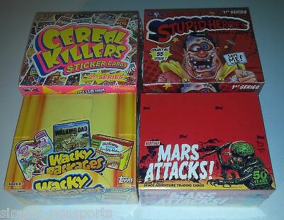 4 box lot WACKY PACKAGE/CEREAL KILLERS/STUPID HEROES/MARS ATTACKS CARD