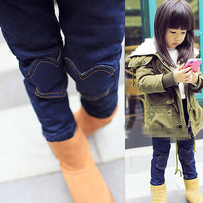 New Kids Toddlers Girls Fleece Lined Thick Warm Denim Pants Trousers 2-7T P839