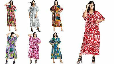 INDIAN KAFTAN COTTON Plus Size Women Dress Caftan Tunic Gown Ikat ...