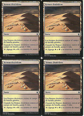 mtg Magic 4x Scoured Barrens ( Yermos deserticos ) Spanish Near Mint-