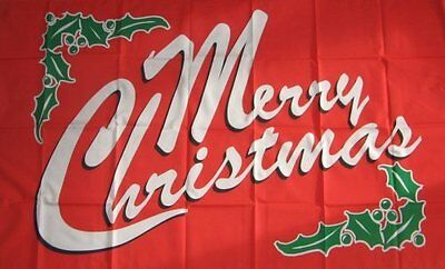 5' x 3' Merry Christmas Flag With Holly Happy Xmas Banner Party 150cmx90cm