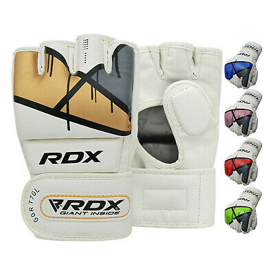 RDX Leather Gel Tech UFC Grappling MMA Gloves Fight Boxing Punch Bag Training T7