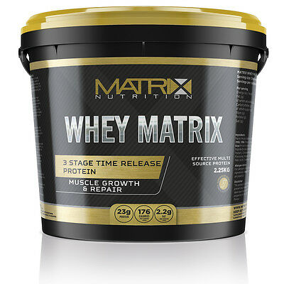Whey Protein - Muscle Growth - All Flavours In 2.25Kg Tub -  By Matrix Nutrition