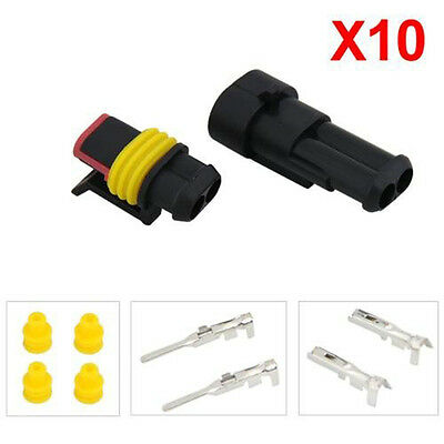 10 Kits 2 Pin Way Waterproof Wire Connector Plug Car Sealed Electrical Set