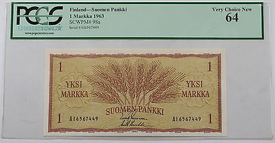 1963 Finland Suomen Pankki 1 Markka Note SCWPM# 98a PCGS 64 Very Choice New