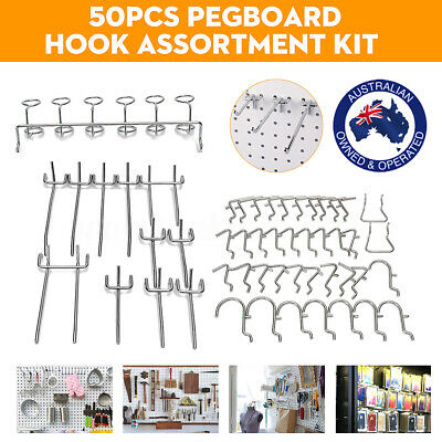50Pcs/Set Shop Display Hangers Metal Grid Wall Pegboard Peg Hook Slatwall Kit
