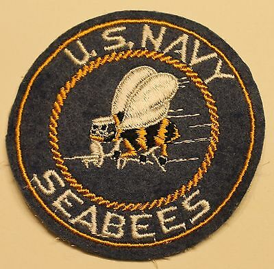Seabee CB Felt / Wool Blue and Gold WWII Era Navy Patch