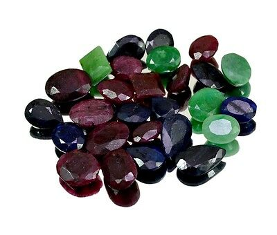 260ct / 27pcs Natural Emerald Sapphire Ruby Ring Size Gemstone Wholesale Lot