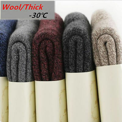 5 Pack Men/Women Wool Cashmere Socks Thicken Warm Cushioned Casual Solid Winter