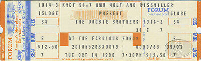 DOOBIE BROTHERS 1980 Unused Concert Ticket L.A. Forum