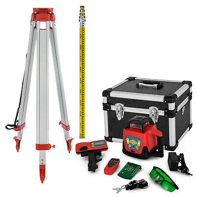 Rotary Green Laser Level+Tripod+Staff Measure Kit Accurate Exterior Adjustable