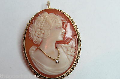 14Kt ITALY Beautiful Victorian Carved Lady Portrait Cameo DIAMOND PENDANT/BROOCH