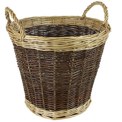 JVL Willow Wicker Two Tone Log Storage Toy Basket with Handles 39 x 30cm