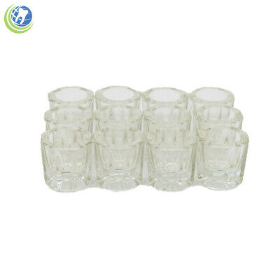 Glass Dappen Dish Clear Acrylic Holder Container Dental Cosmetology 12/Pcs