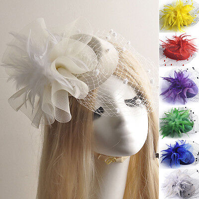 vintage lady bridal pillbox hat fascinator hair clip accessories feather veil