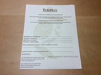 New - EUROPEAN COMPANY WATCH Certificate of Origin and Warranty - For Collectors