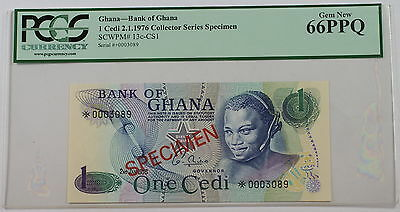 2.1.1976 Bank of Ghana 1 Cedi Specimen Note SCWPM# 13c-CS1 PCGS 66 PPQ Gem New