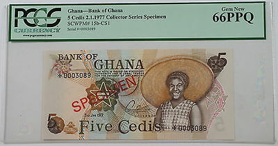 2.1.1977 Bank of Ghana 5 Cedis Specimen Note SCWPM# 15b-CS1 PCGS 66 PPQ Gem New