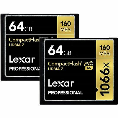 Lexar 64GB Pro 1066x UDMA 7 Compact Flash CF Pro Memory Card 2 Pack -Total 128GB