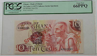 2.1.1977 Bank of Ghana 10 Cedis Specimen Note SCWPM# 16e-CS1 PCGS 66 PPQ Gem New