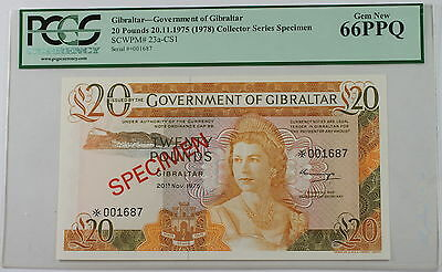 1975 (1978) Gibraltar 20 Pounds Specimen Note SCWPM# 23a-CS1 PCGS 66 PPQ Gem New