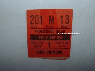 KING CRIMSON / ROBIN TROWER 1974 Concert Ticket Stub FELT FORUM MSG NYC Fripp