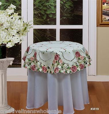 """Embroidered Rose Daisy Floral Cutwork Beige Tablecloth 33x33"""" ROUND #3819"""