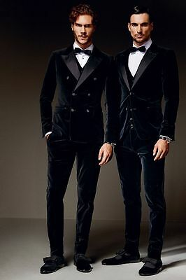 Velvet Fabric Jacket+Pants+Vest+Bowtie Mens black Wedding Suits Groom Tuxedos