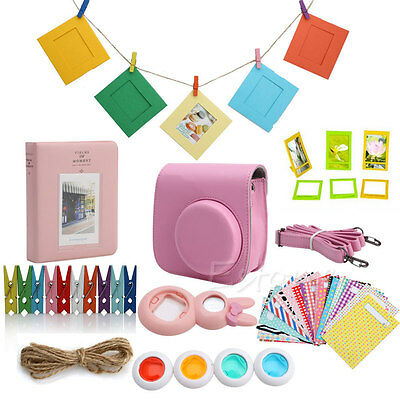 7 in 1 Instant Camera Film Accessories Bundles For Fujifilm Instax Mini8 Pink