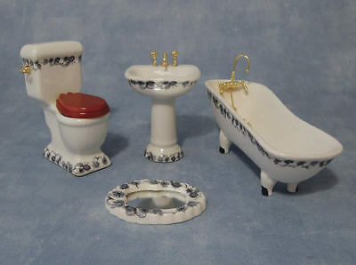 4 Piece Ceramic Bathroom Set Blue & White Design, Dolls House Miniature. 1.12th