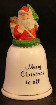 "Vintage JSNY Taiwan ""Merry Christmas To All"" Porcelain Christmas Santa Bell-34T!"