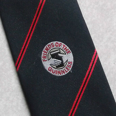 GUINNESS FRIENDS OF THE GUINNLESS VINTAGE TOOTAL TIE 1980s BLACK RED STRIPED