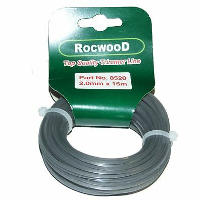Alu-Line 2mm x 15 M Metres Square Profile Extra Strong Strimmer Line Cord