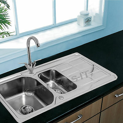 Double 1.5 Bowl Stainless Steel Kitchen Sink Complete Drainer Plumbing Waste Kit