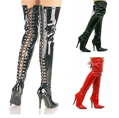 4b207892ee7 WOMENS LADIES KINKY Fetish Sexy Over The Knee Thigh High Stiletto Heel Boots