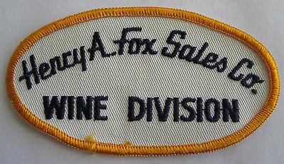 Henry A Fox Sales Company Wine Division Pocket Patch vtg Michigan Advertising MI