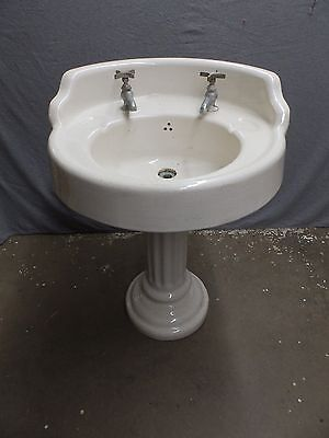 Antique Round Earthenware Pedestal Corner Sink White Porcelain Old Vtg 5286-15