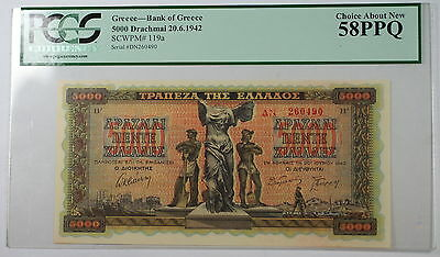 1942 Bank of Greece 5000 Drachmai Note SCWPM# 119a PCGS 58 PPQ Choice About New