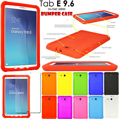Rugged Soft Silicone Shock Proof Kids BUMPER Case for Samsung Galaxy Tab E 9.6""