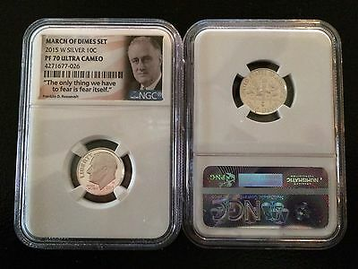 2015 W 90% Silver Roosevelt Proof Dime Ngc Pf70 Uc From March Of Dimes Set