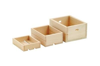 Pack Of 3 Crates Doll House Miniature Shop Accessory Fruit n Veg Boxes Wooden