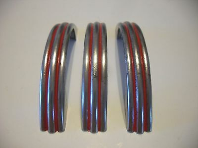 3 VINTAGE 1940's CHROME Steel Drawer Pulls RED Lines Ribbed Cabinet Door Handles